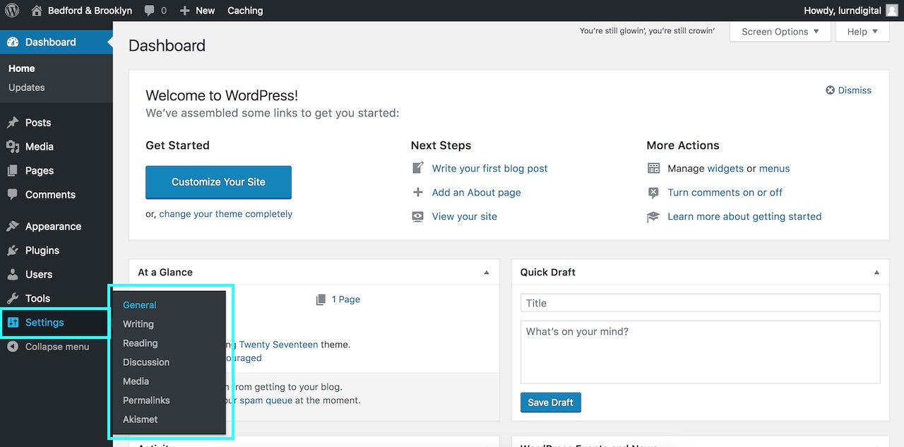 Intro to WordPress - WordPress settings